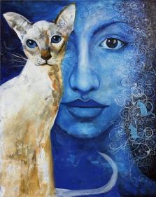 Madhusudan Khandekar Face to Face-1 Acrylic on Canvas 30 x 24 Inches