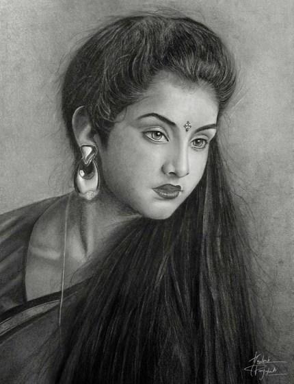 Sandeep Prajapati Divya Bharti Graphite & Charcoal 16 x 12 Inches