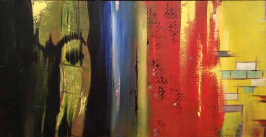 Sarbdeep Jaswal Woodan Face Acrylic on Canvas 16 x 32 Inches
