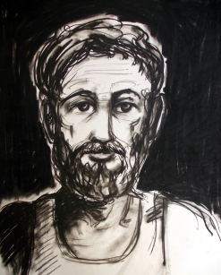Susnata Chatterjee Portrait of a Man Charchole on Paper 29 x 22 Inches