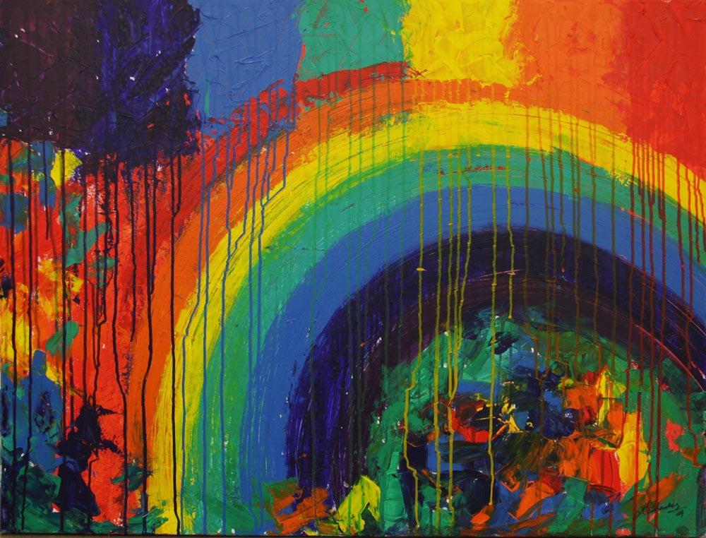 Kishore Shanker Dissolving Rainbow I Acrylic on Canvas 36 x 30 Inch