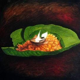 Maya Saini Devine-The Hope of Life Oil on Canvas 30x30 Inches