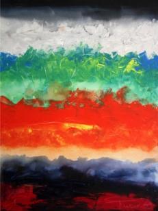Mukesh Kumar Fantasy Landscape Acrylic on Canvas 48x36 Inches